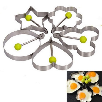 Thickening Stainless Steel Fried Egg Mold Suit - Silver + Green (5PCS)