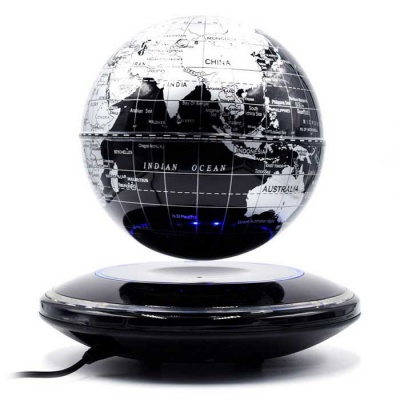 6-inch Magnetic Suspension Globe / Negative-Ion Anion Generator - Silver + Black