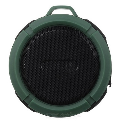 Outdoor Portable Water-Resistant Wireless Bluetooth Speaker w/ Hands-Free / TF - Black + Dark Green