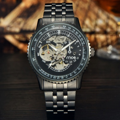 MCE Men's Business Steel Band Automatic Mechanical Watch - Black