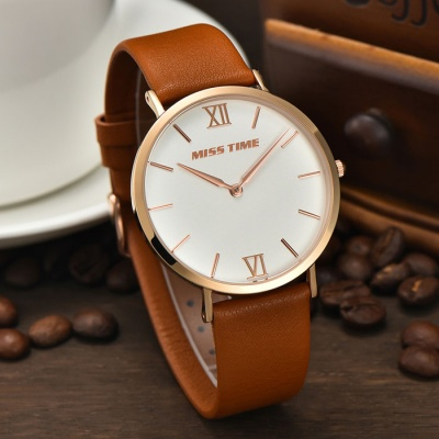 MCE 01-0040245 Analog Quartz Wrist Watch - Brown + White (1*377)