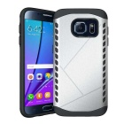 Protective TPU Back Case for Samsung Galaxy S7 Edge - Silver + Black
