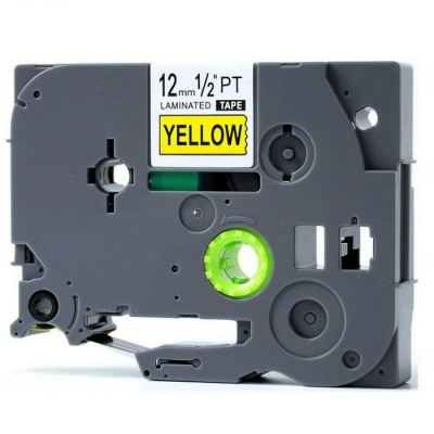 Black on Yellow Label Tape P-Touch 12mm 8M Label Maker - Dark Grey