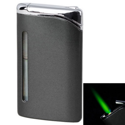 Fashion Green Flame Business Refilled Butane Gas Lighter - Black