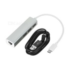 3-USB 3.1 Type-C to MB Network Port HUB w/ Charging Cable - Silver
