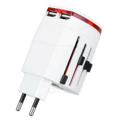 2-USB International World Travel AC Power Adapter - White