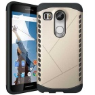 Protective Plastic + TPU Back Case for LG Nexus 5X - Golden + Black
