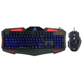 USB Wired 7-Color LED Illuminated Gaming Keyboard Mouse Set - Black