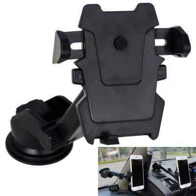 Long Neck Suction Cup One-Touch Car Mount Phone Holder - Black