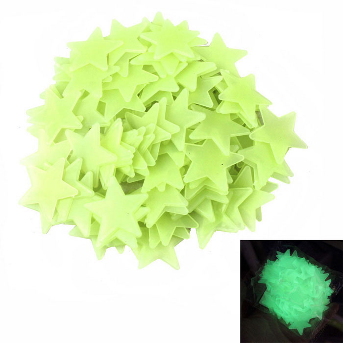 Luminous Star 3D Wall Decoration Stickers - Yellowish Green (200 PCS)
