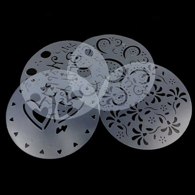 PVC Cake Spray Printing Sheet Decoration Mold - Translucent (4 PCS)