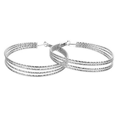 Stylish Multiple Large Rings 4-Ring Earrings for Women - Silver (Pair)