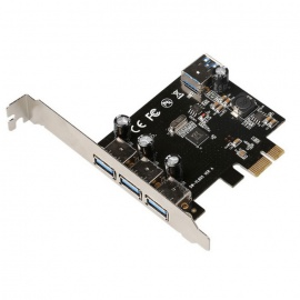 DIEWU 4 Ports USB 3.0 to PCI-E Self-Powered Extension Card - Black