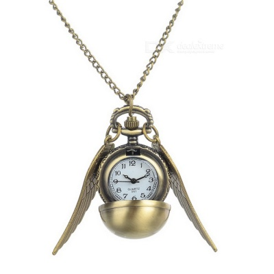 Vintage Ball Necklace Quartz Pocket Watch - Bronze