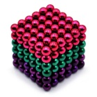 5mm Puzzle Magnetic Beads Toy - Dark Pink + Green + Purple (216PCS)
