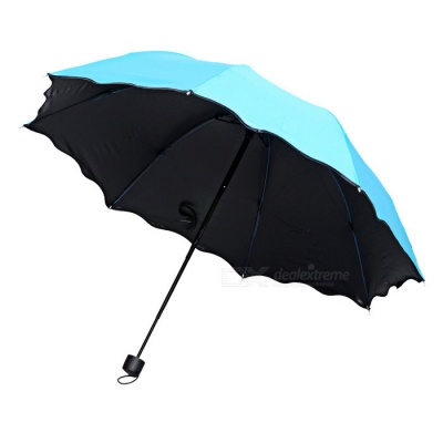 Folding Manual Sun / Rain Anti-UV Umbrella Parasol Show Flower - Blue