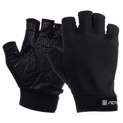 AOTU AT8823 Sports Breathable Mesh Semi Finger Gloves - Black (L)
