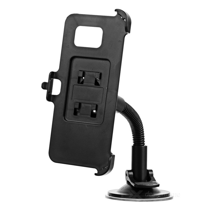 Suction Cup Flexible Neck Car Mount Holder for Samsung S7 Edge - Black
