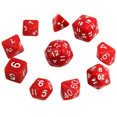 Exquisite Polyhedral Acrylic Dice - Red + White (10 PCS)