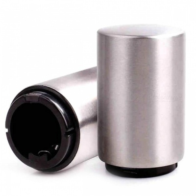 Stainless Steel Press Type Automatic Beer Bottle Opener - Silver