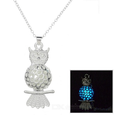 Glow-in-the-Dark Owl Style Pendant Necklace - Silver + Blue