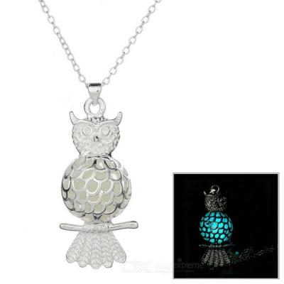 Glow-in-the-Dark Owl Style Pendant Necklace - Silver + Cyan