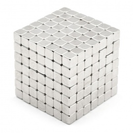 4mm Cube Magnet Puzzle Children Toy - Silver (343 PCS)