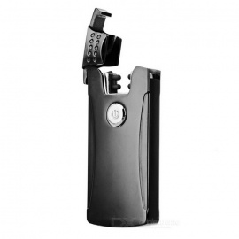 Rechargeable Double Electric Arc Pulse USB Cigarette Lighter - Black