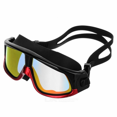 Fashionable HD Antifogging Large Frame Swimming Goggles - Black