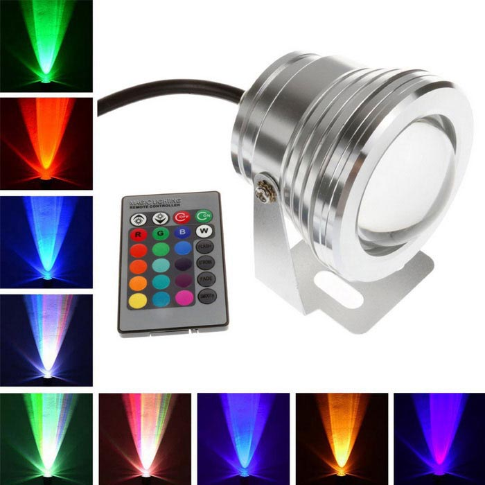 Waterproof 800lm 10W COB LED Spotlight Colorful Light - Silver (DC12V)