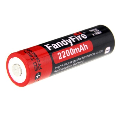 FandyFire Rechargeable Lithium-ion 3.7V 2200mAh Battery - Black + Red