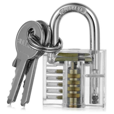 Mini Transparent Practice Padlock Lock Pick Locksmith Tools + Keys