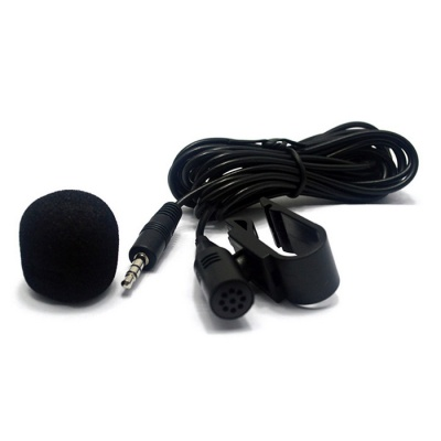 3.5mm Stereo Radio Microphone External Car Kit Microphone - Black