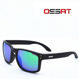 OSSAT MX-1009 Coating Polarized Sports Sunglasses - Black + Green REVO