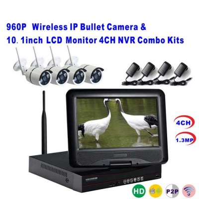 4CH Wireless NVR w/ 10.1Inch LCD Display Monitor Combo Kits (US Plugs)