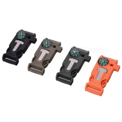 Outdoor Survival Buckle Multi-Tool for Camping - Black + Multi-color