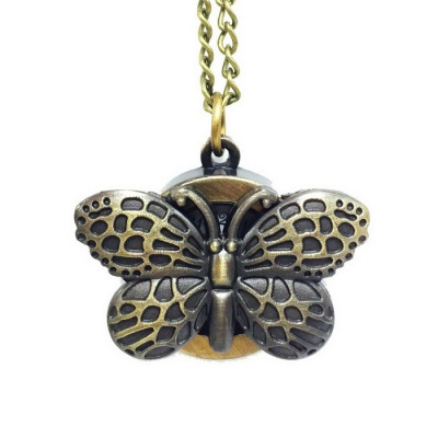 Butterfly Style Zinc Alloy Quartz Necklace Pocket Watch - Bronze