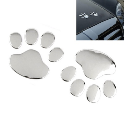 ZIQIAO Funny Bear Paw Pet Animal Footprint 3D Car Stickers - Silver