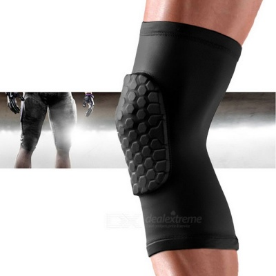 Lycra Fabric Outdoor Sports Anti-collision Knee Pad- Black  (Size XL)
