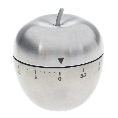 Cute Stainless Steel Apple Mechanical Kitchen Cooking Twist Timer (60-Minute)
