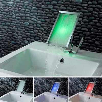 Contemporary Brass Personalized Single Handle LED Bathroom Sink Faucet