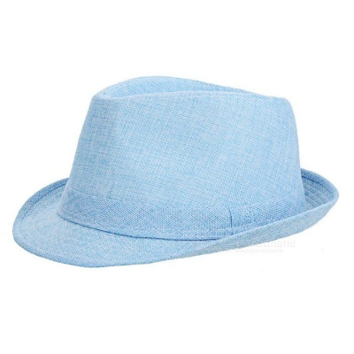 Trendy Casual Cotton Flax Billycock / Fedora Hat - Blue