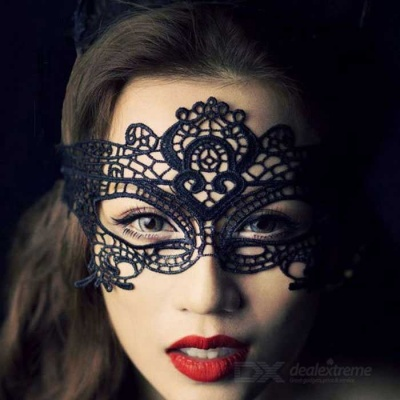 Nightclub Queen Lace Hollow-out Eye Mask - Black