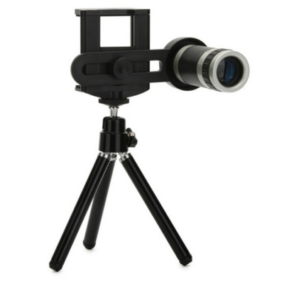 Mobile Universal Lens 8X Telescope w/ Support - Black