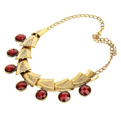 Jewel Decorated Necklace for Women - Gold + Red