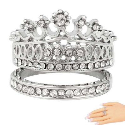 Fashion Platinum Rhinestones Decorated Crown Double Rings for Women