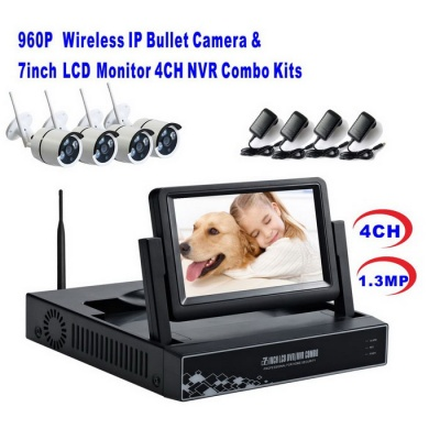 4CH Wireless NVR with 7Inch LCD Display a Combo Kits (US Plugs)