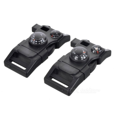Survival Tool Multifunctional Whistle w/ Thermometer - Black (2PCS)