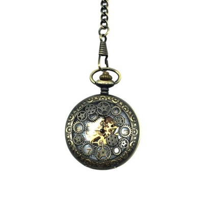 Men's Retro Zinc Alloy Mechanical Analog Pointer Pocket Watch - Bronze