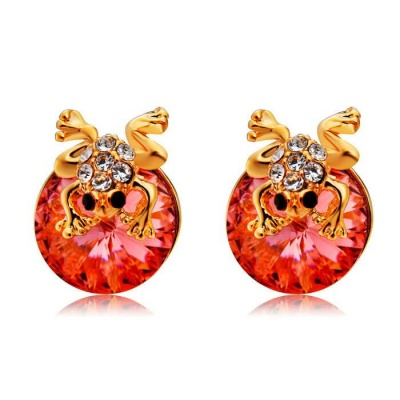 Xinguang Women's Cute Little Frog Style Crystal Decorated Earrings